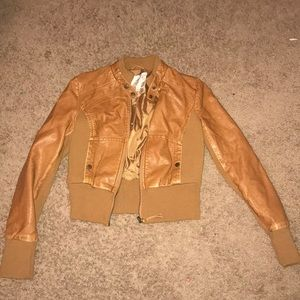 vintage 2000s arden b. brown leather jacket